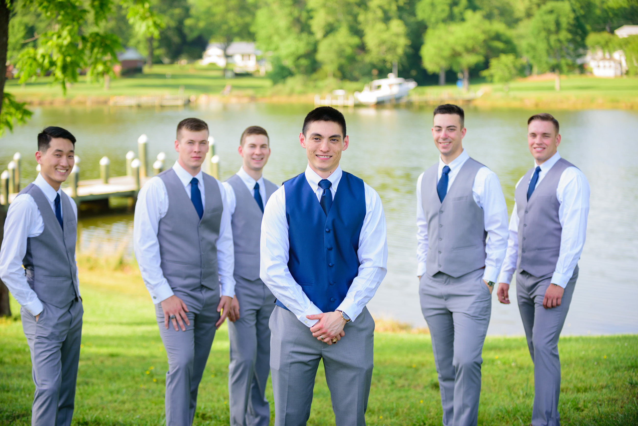 Groom and his groomsmen at Mary's Hope on Church Cove wedding