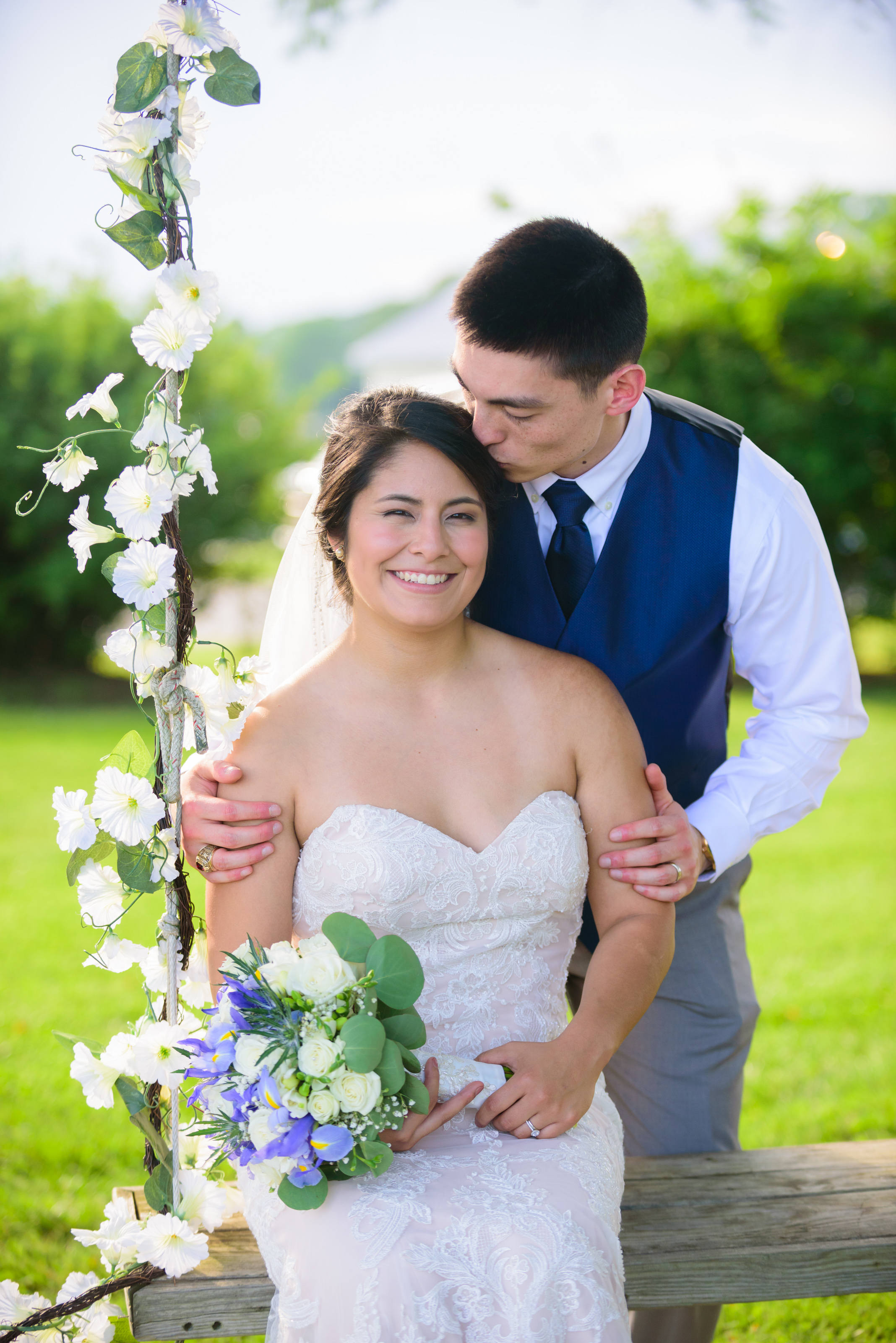bride and groom portraits at Mary's Hope on Church Cove wedding