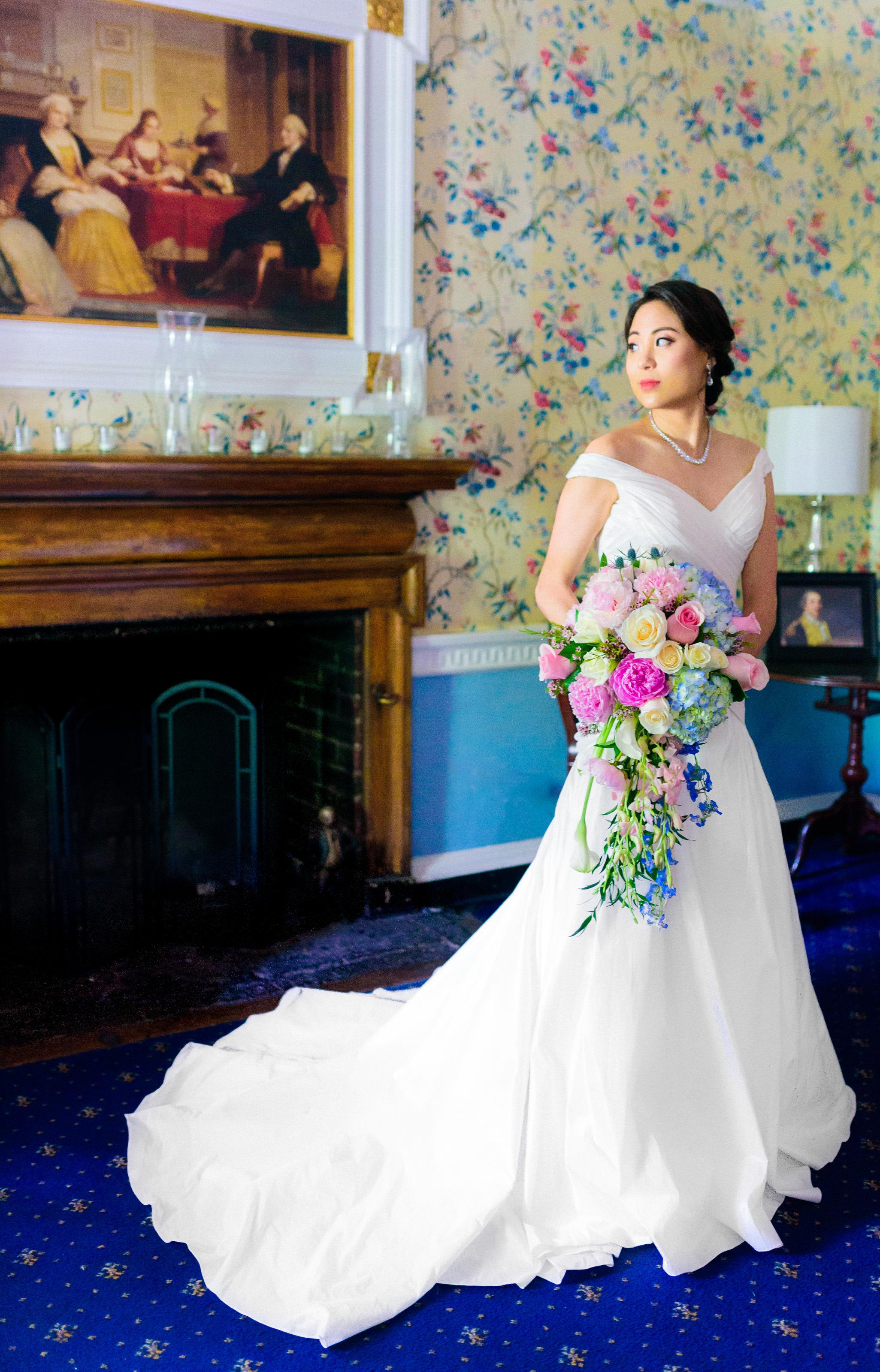 - Beautiful bride in her bridal suite at Mount Vernon Inn RestaurantDaniel & Esther's DC WeddingVendors:1.Photographer- Eylul Gungor http://justyphotography.com/2. Korean Ceremony