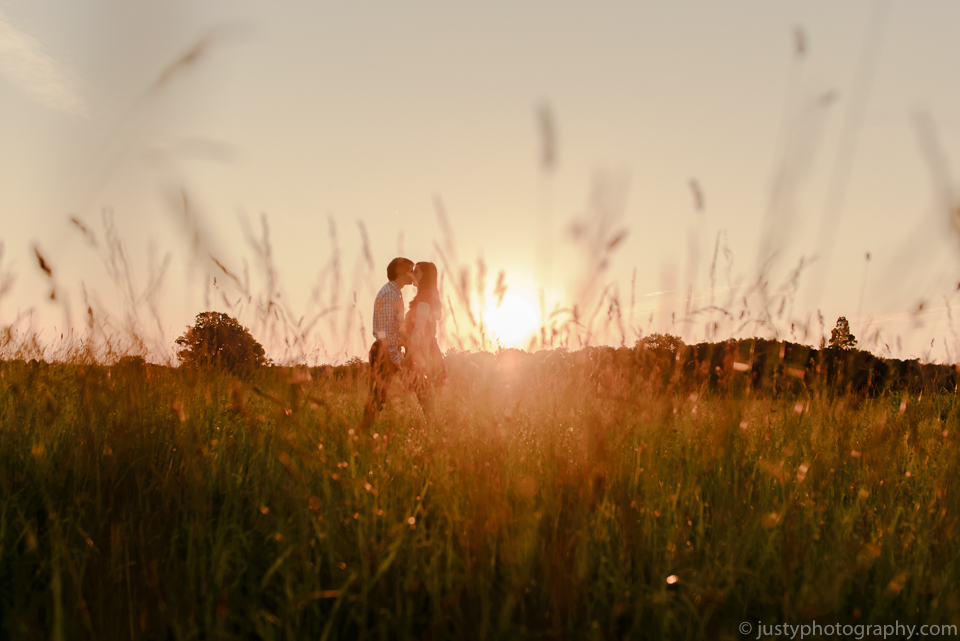 Engagement couple during sunset in Manassas Virginia.
