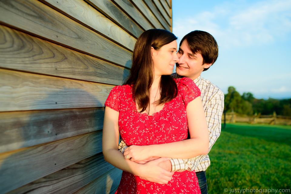 Engagement photo at barn in Northern Virginia.