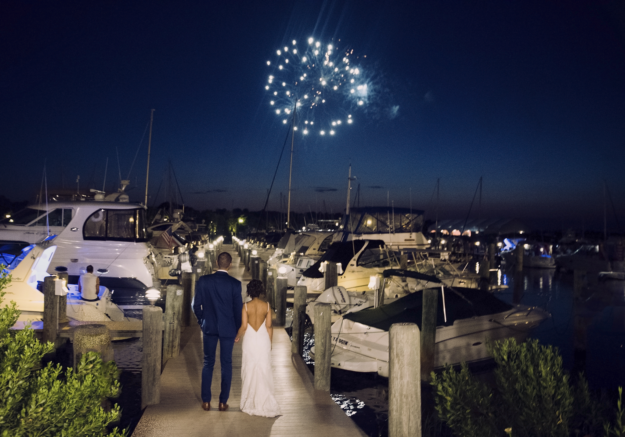 Bride and groom watching the fireworks on their wedding day , Maryland Wedding Photographer Justy Photography