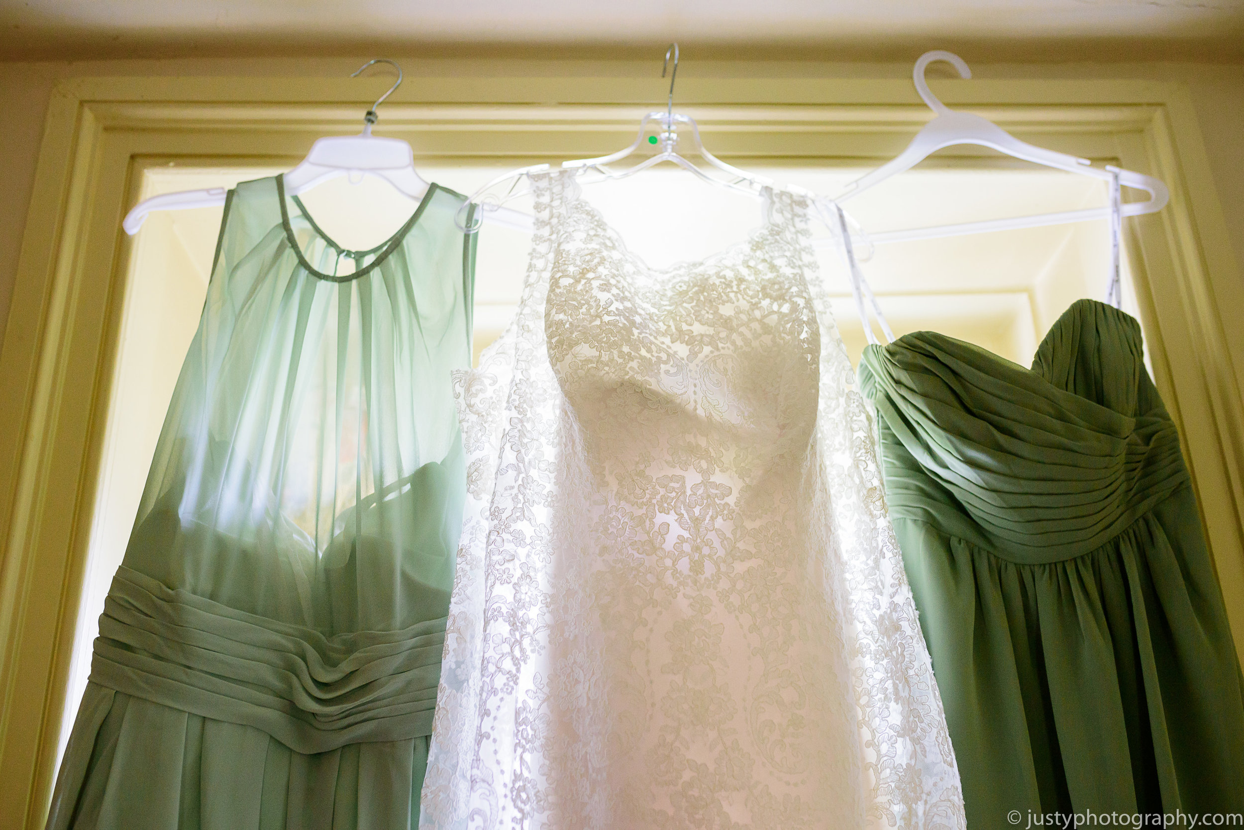 Silverbrook Farm Wedding Photos - Washington DC Wedding Photographer - Bridesmaids dresses hanging