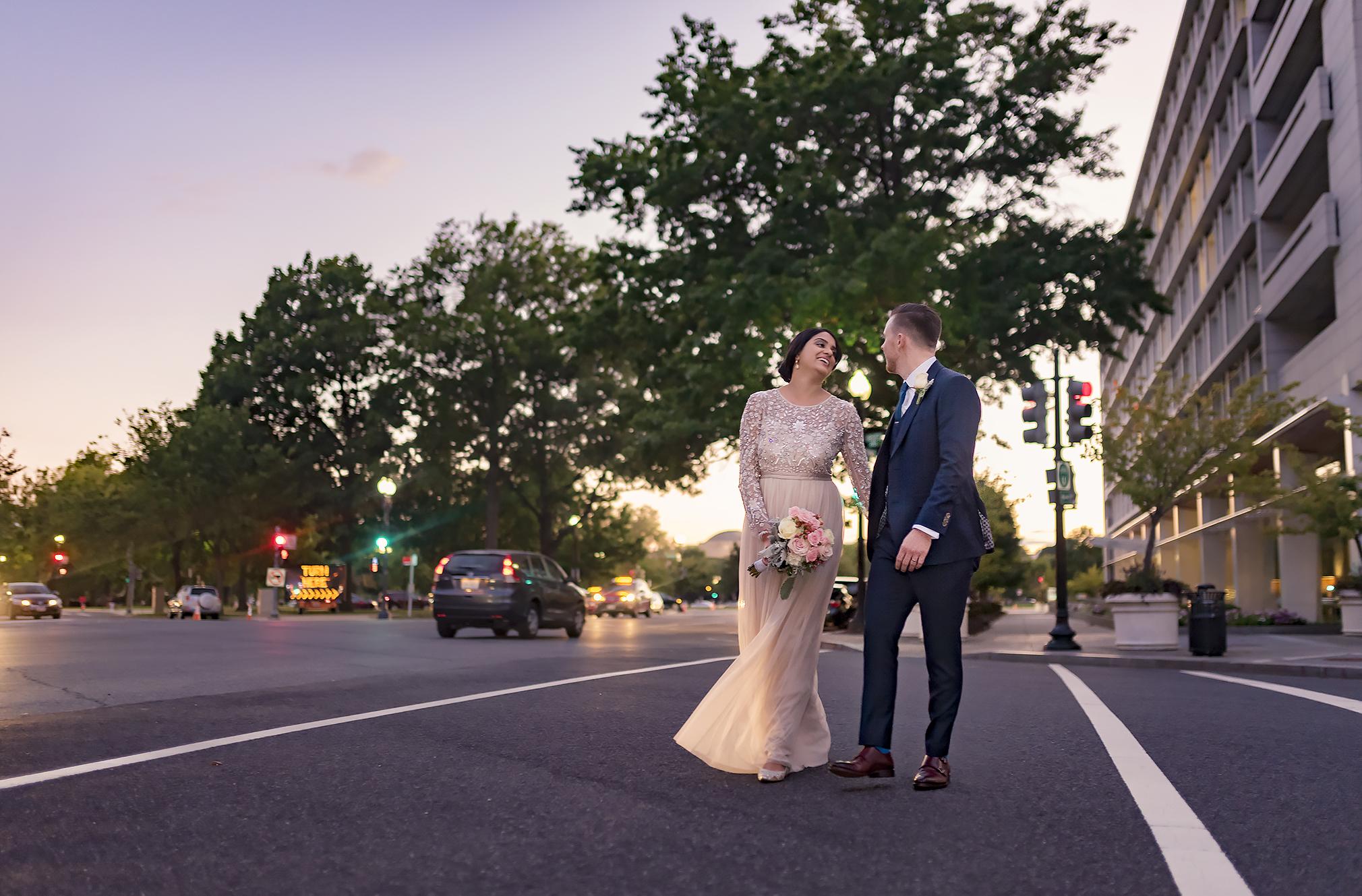 Washington DC Urban Wedding Photo at night