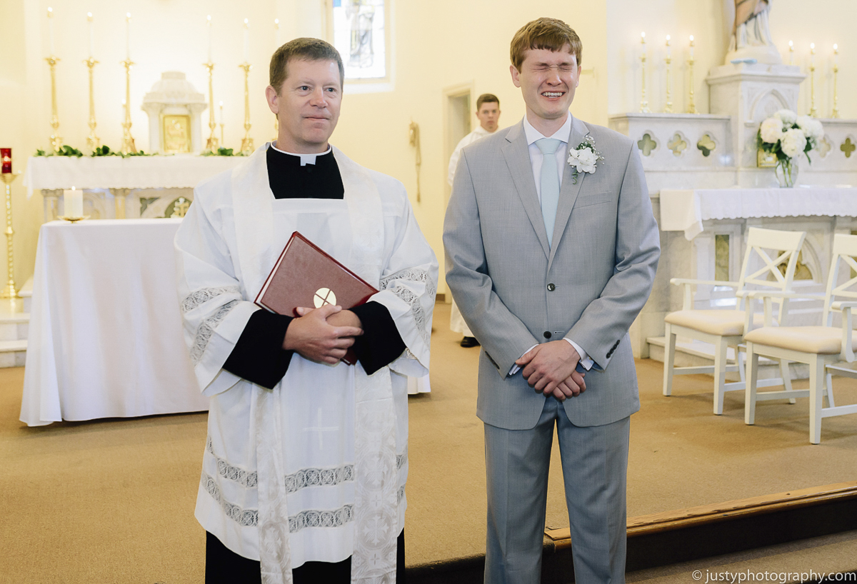 St. Anthony's Shrine wedding photos- Groom's first look