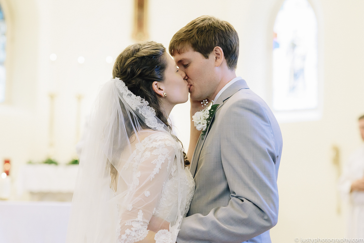 St. Anthony's Shrine wedding - The Kiss!