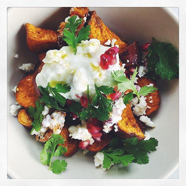 sweet potatoes & cilantro from @farmcartorganics with yogurt, feta & pomegranate ✨