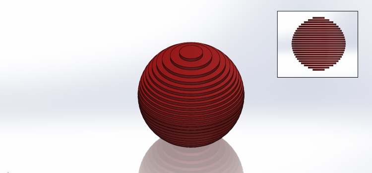 Slices of rubber ball stacked on top of one another to recreate the ball's original shape.