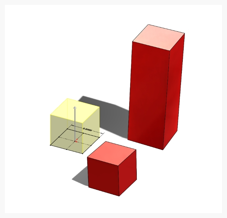 By extruding a 2D sketch, a solid cube is created. By extruding the 2D sketch farther, a rectangular block is created.