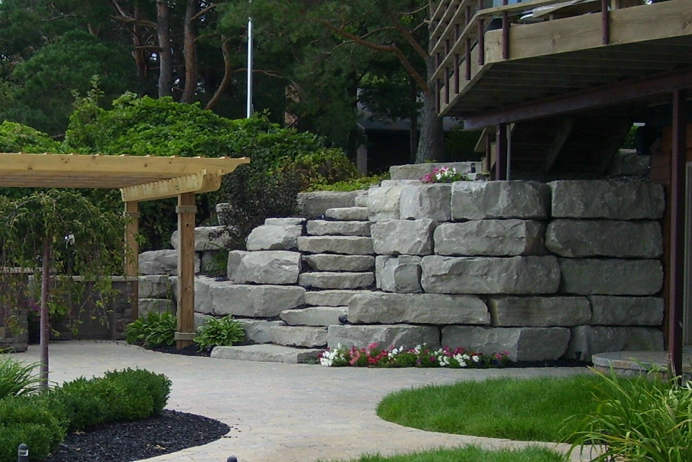Limestone Boulder Stairway and Retaining Wall