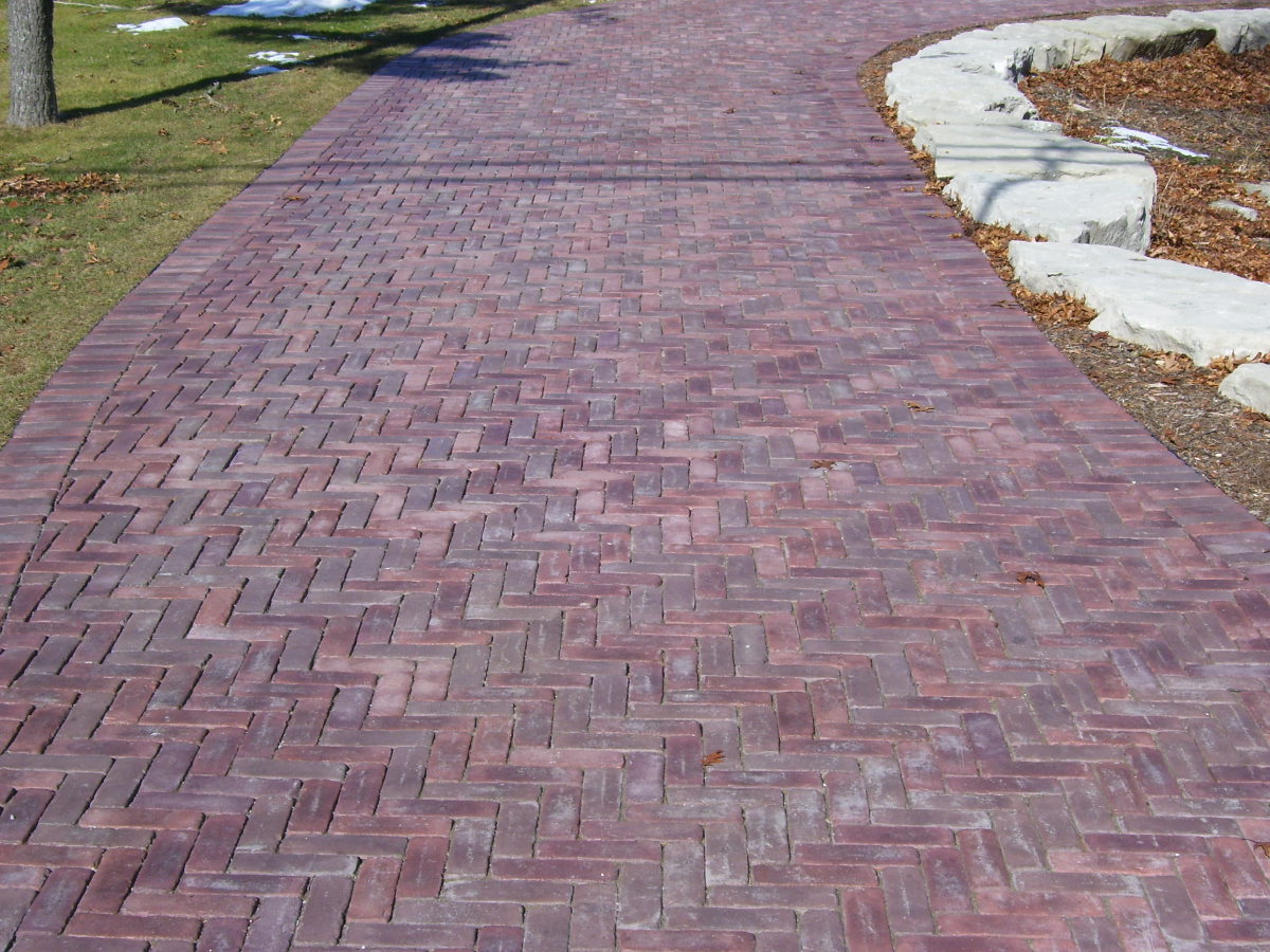 Red Brick Pavers in Herringbone Pattern