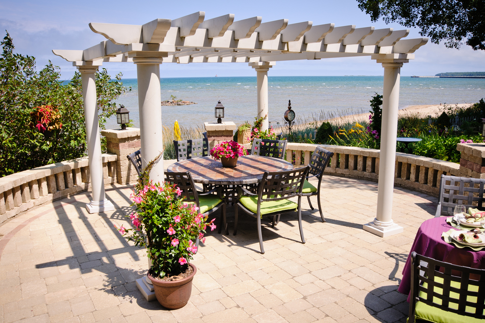 Esch Landscaping - Outdoor Living - Pergola with a View - Dining and Seating Area Overlooking Lake Huron (1).jpg