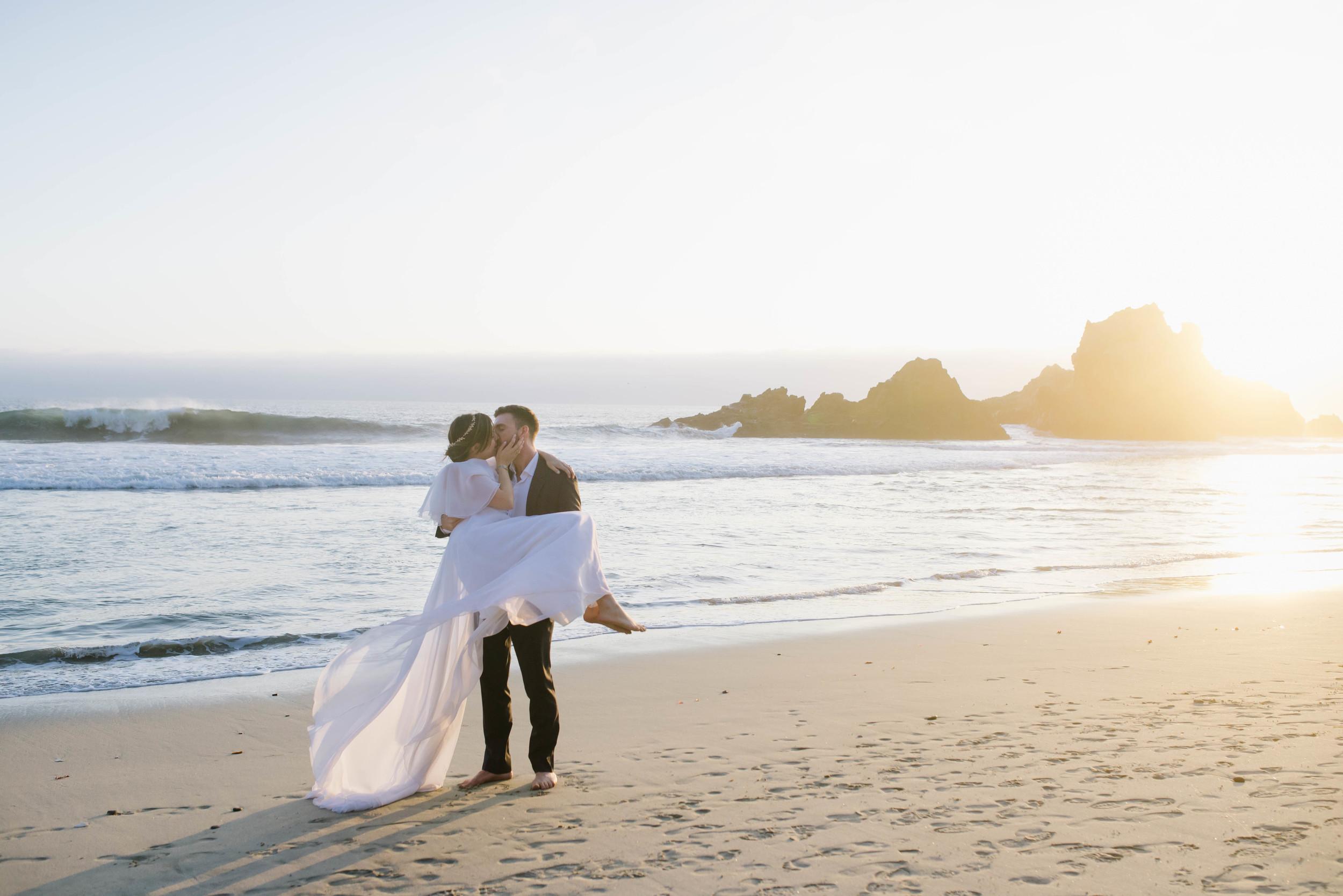 Big Sur Golden Hour Wedding Photograph