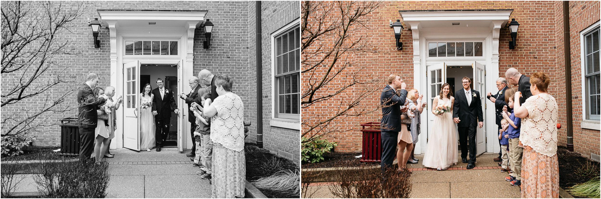 wedding exit ligonier town hall mariah fisher.jpg