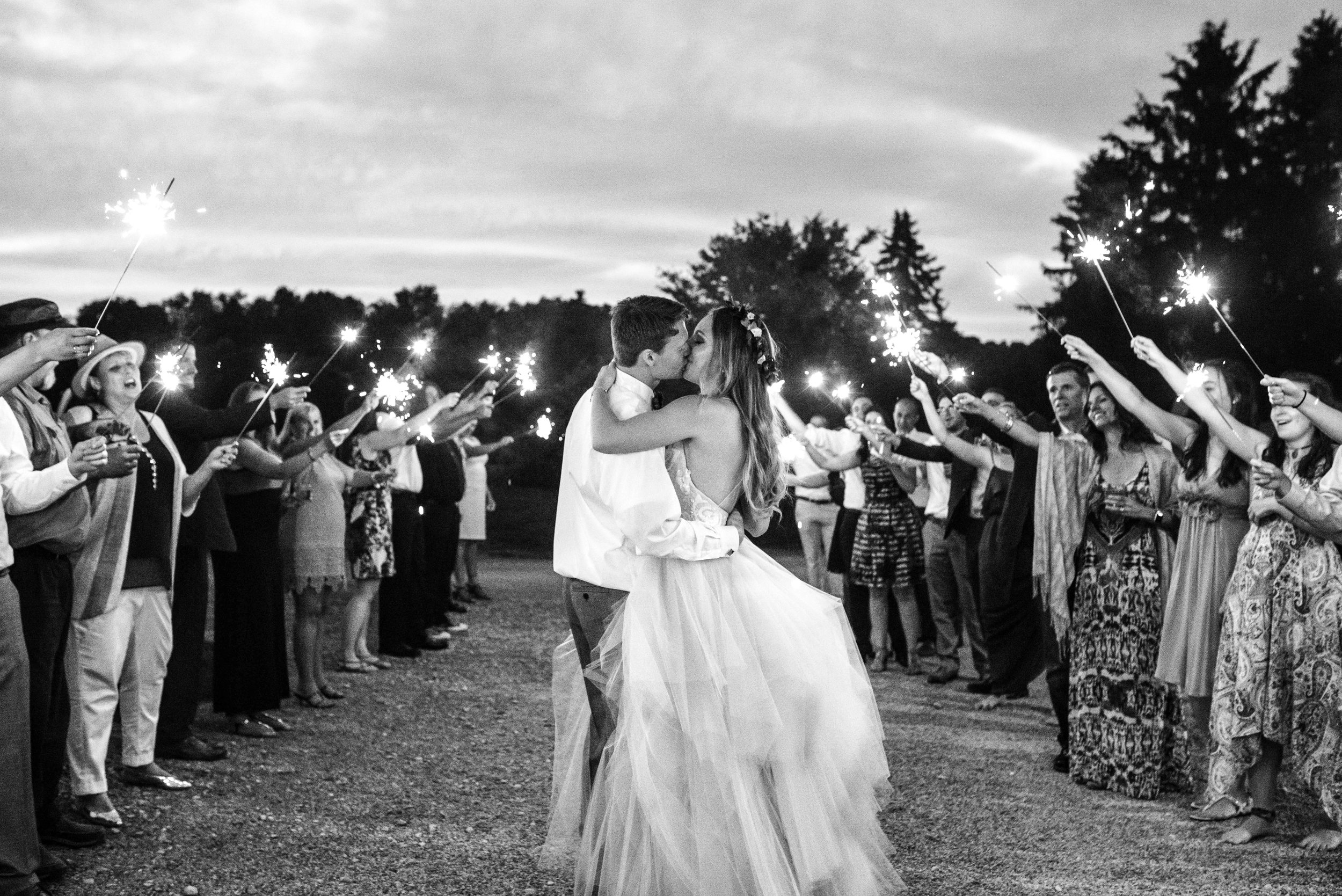 Fourth of July Lingrow Farms Wedding Sparkler Exit