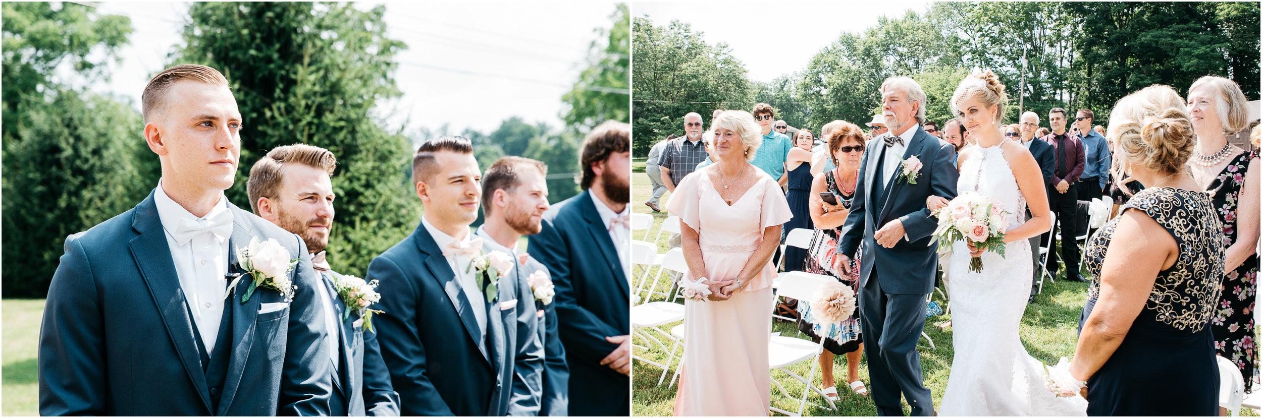 Groom seeing Bride coming down the aisle pittsburgh pa wedding photographer.jpg