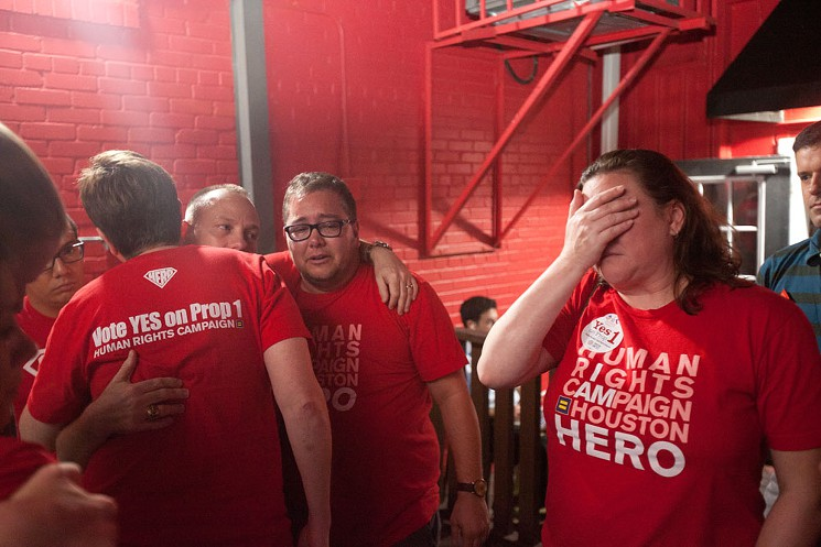 HERO supporters gathered at Jackson Street BBQ Tuesday were overcome with grief after hearing the ordinance had lost by a wide margin.  Photos by Daniel Kramer