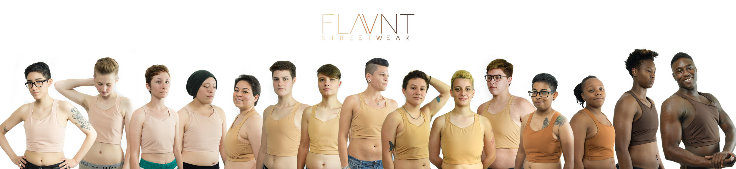 Click the image to enlarge!  Here are our 15 models from the community wearing our 4 initial colors, Rose-Umber.