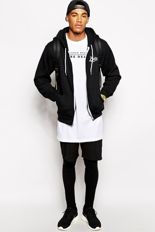 LOOK 2:  Gender Roles Are Dead Longline Tee (Coming Soon)   Don't be Bitter be Better Zip-Up Hoodie   Black Tights   Black Shorts   Sneakers