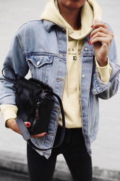 LOOK 6:  Gender Roles are Dead Hoodie   Denim Jacket   Black Skinny Jeans   BANGS Shoes   Shoe Alternative