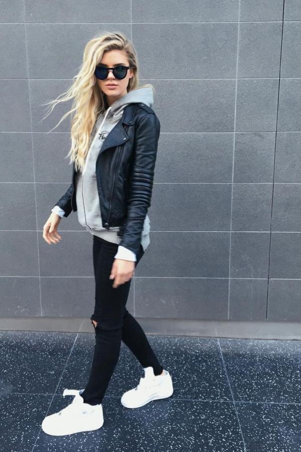LOOK 11:  Steer Queer Zip-Up Hoodie   Black Leather Jacket   Black Jeans   White Sneakers
