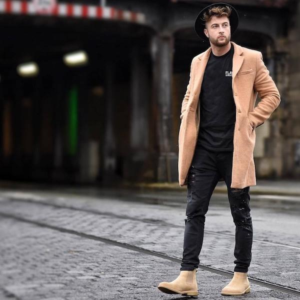 LOOK 8:  Trans Equalitee Shirt   Black Jeans   Brown Coat   Wide Brim Hat   Suede Boots