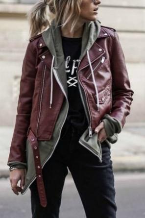 """LOOK 3:  Gal Pals Scissor Shirt   Steer Queer Zip Up Hoodie   Black """"Mom"""" Jeans   Maroon Jacket   Platform Ankle Boots"""
