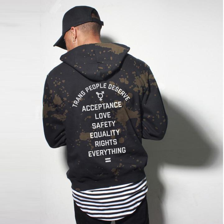 LOOK 13:  Tall Striped Tee   Trans Equality Hoodie   Black Dad Hat   Black Jeans