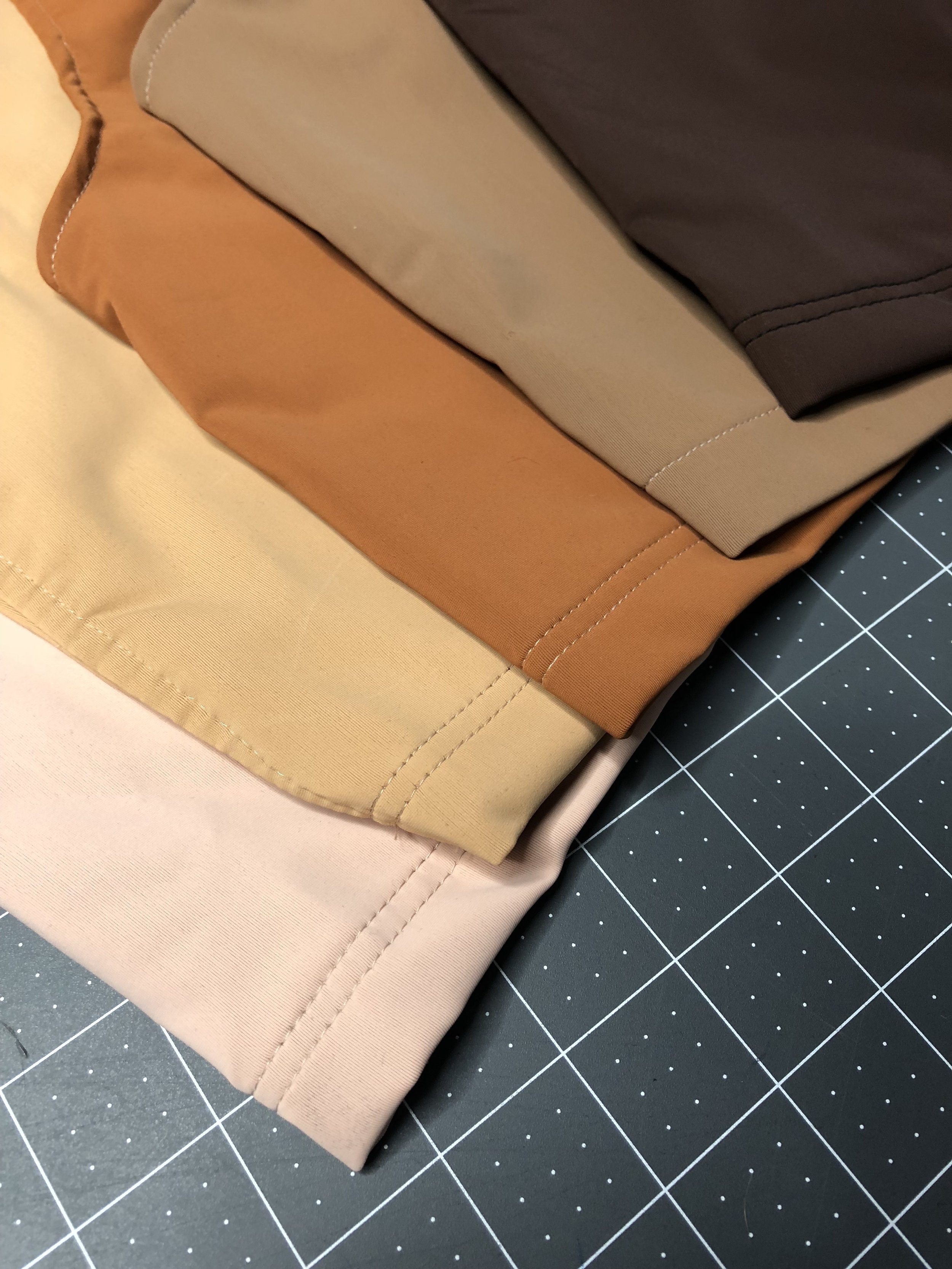 Our current range of colors from left to right: Rose, Sand, Copper, Oak and Umber.