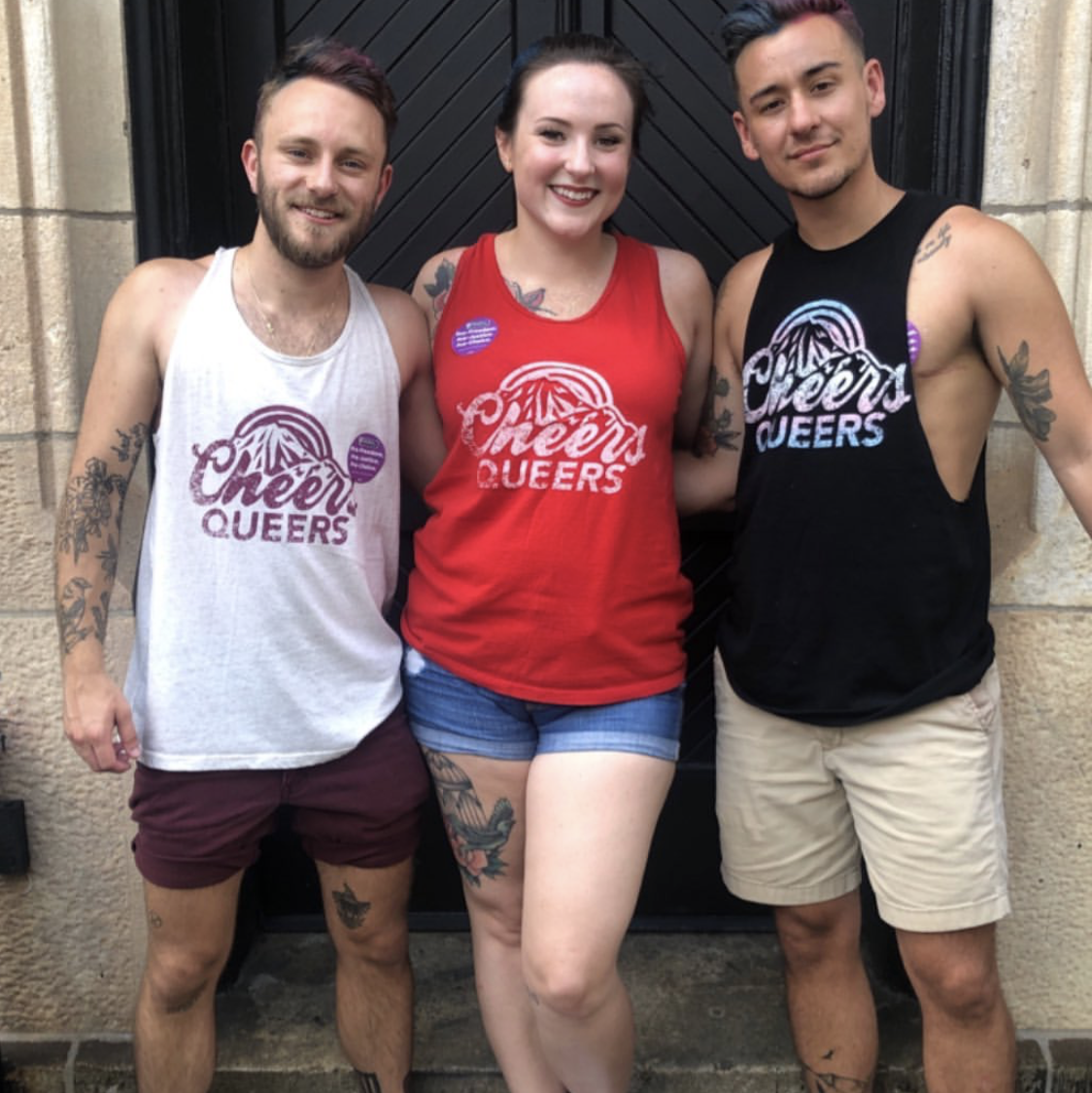 Asher (he), Kristen (she) & Kaleb (he) - Flavnting our Cheers Queers Tanks in 3 different color combos!