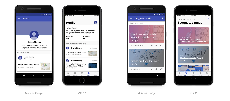 Material Design v s  iOS 11 — Helena Stening