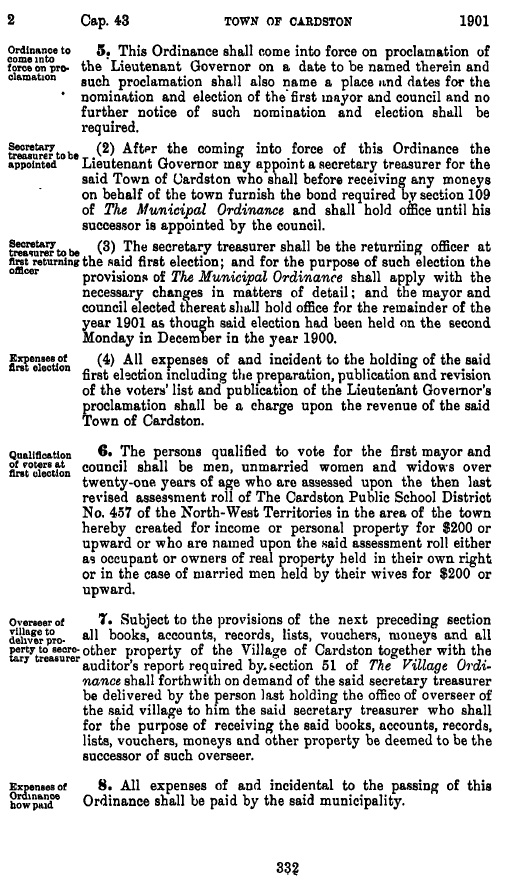 Northwest Territories Ordinances, 1901, 4th Legislature, 3rd Session. ( http://www.ourfutureourpast.ca/law/toc.aspx?id=6950 ).