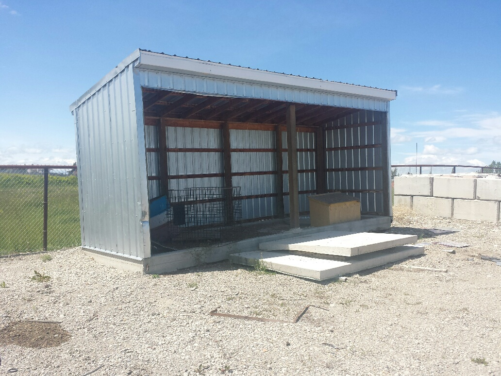 Lean to storage shed with cement base (8 ft x 24 ft)