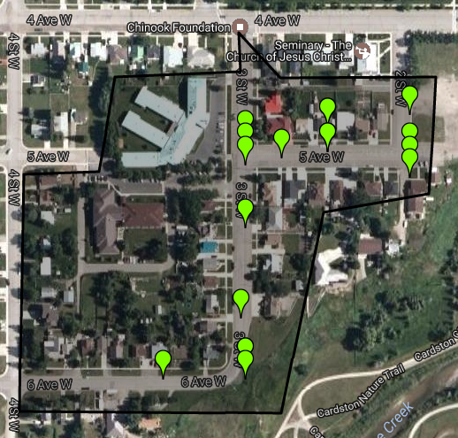 Map of affected area, green markers indicate addresses registered in our one-call municipal alert system. To register your address to receive phone, text or email notifications for alerts like this one  click here .