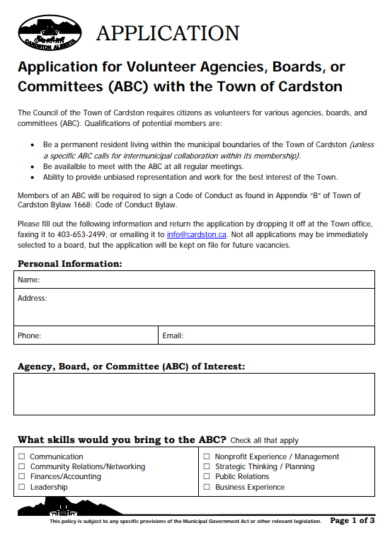 To apply to be on a committee, click the Image above and download an application form.