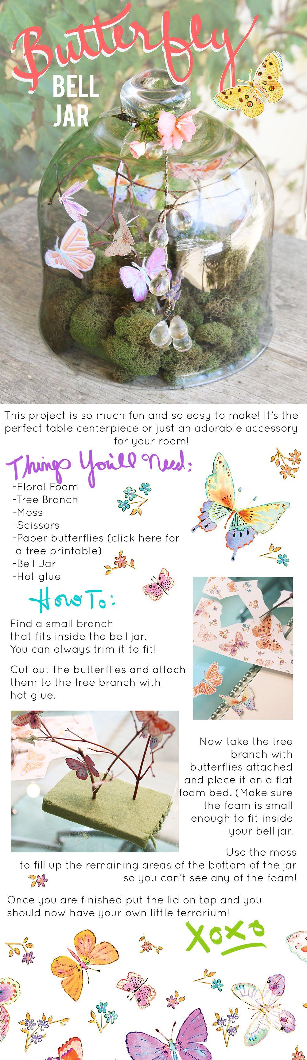 DIY Decor Butterfly Bell Jar Centerpiece