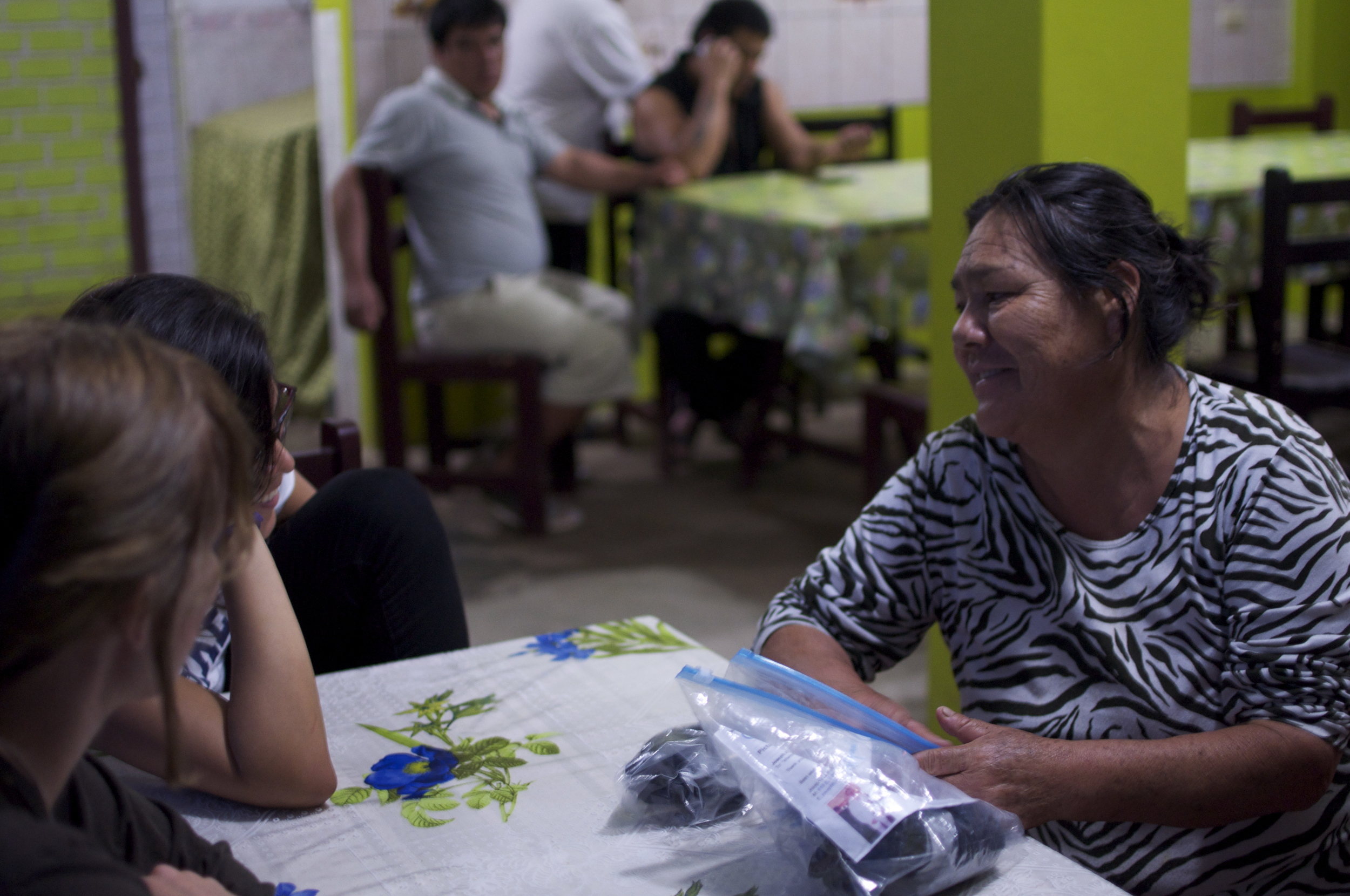 June 2014 - Julia Calder ó n de Avila chatting with her patients before a healing ceremony.