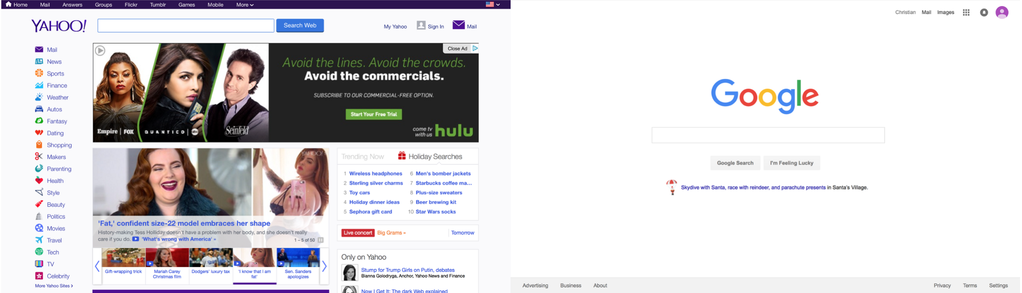 A comparison between Google's Homepage and Yahoo!'s Homepage
