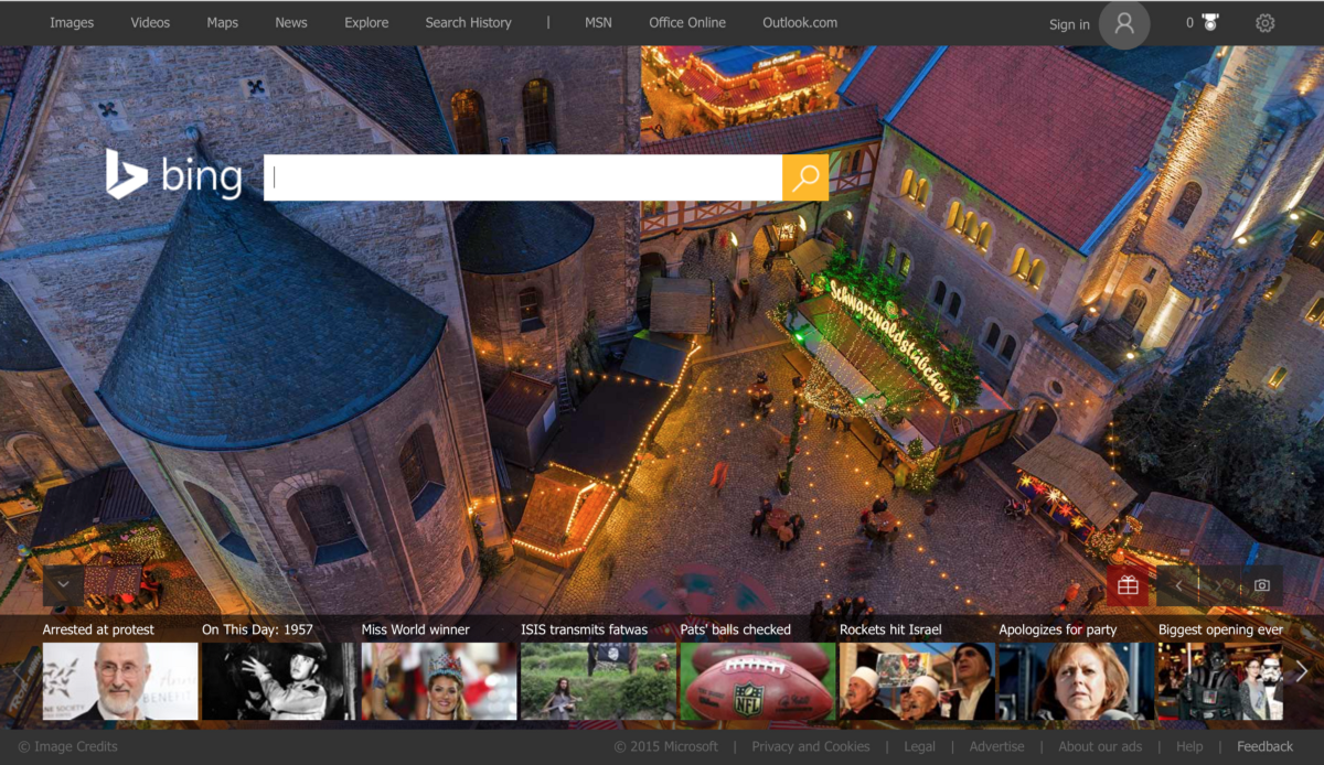 Bing's Homepage features a clear focus on search, with a sideshow on trending news and a clear simple background feature image.