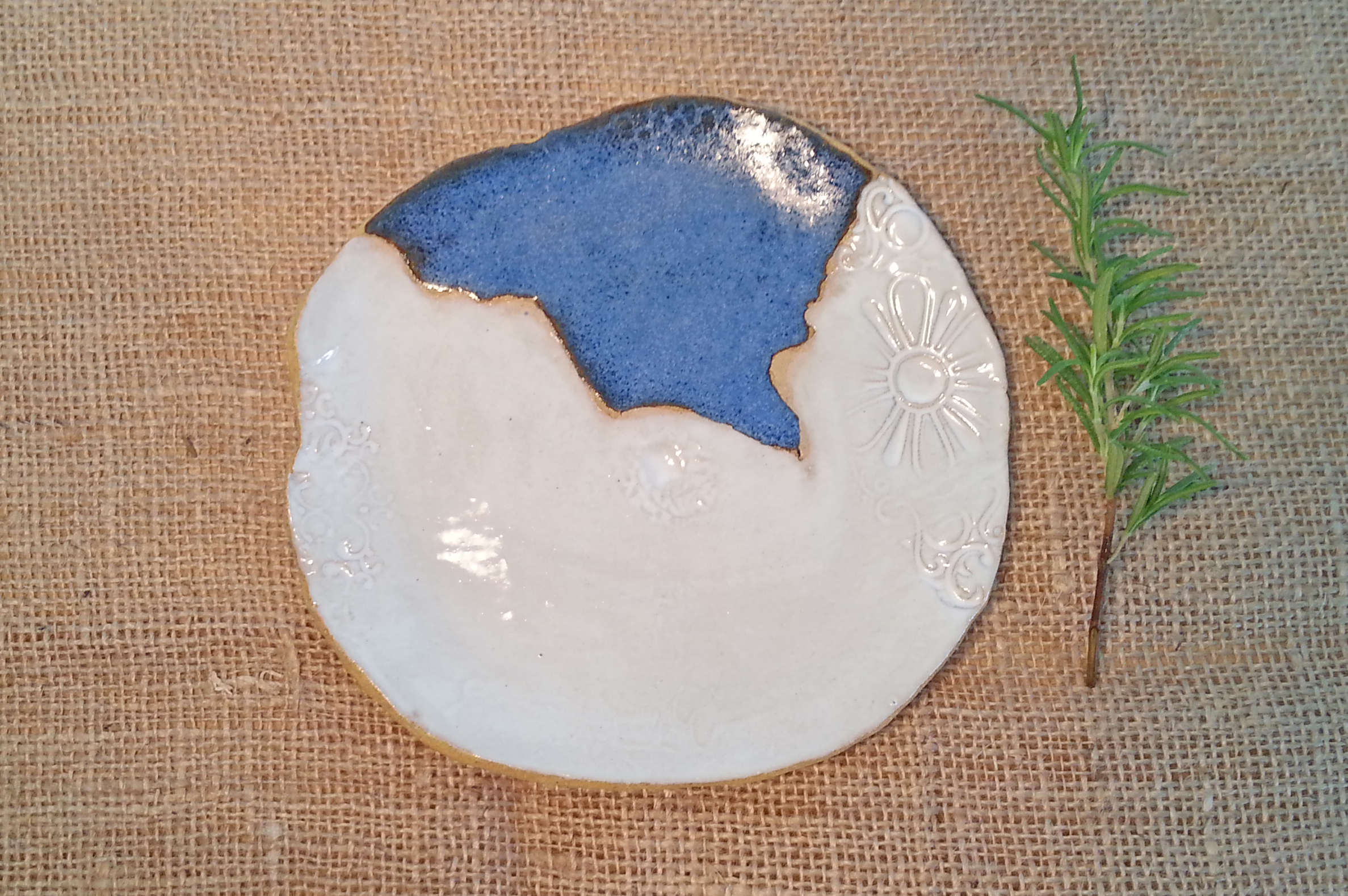 Plate- Ceramic, hand-built,  white and blue glaze