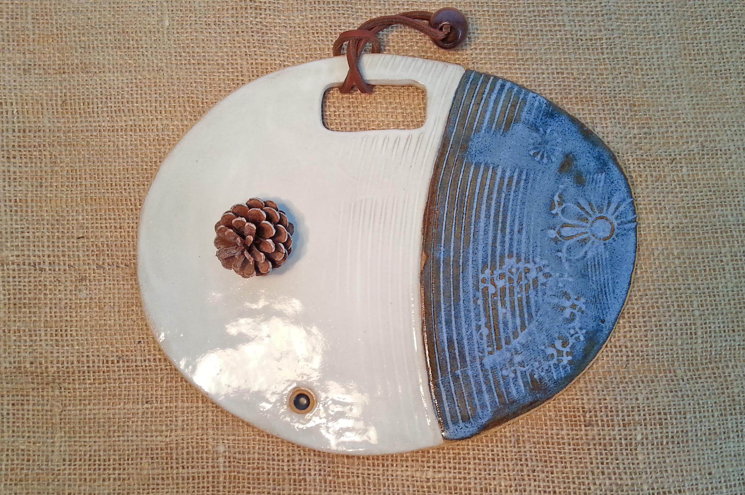 Platter- Ceramic, hadn-built, blue and white