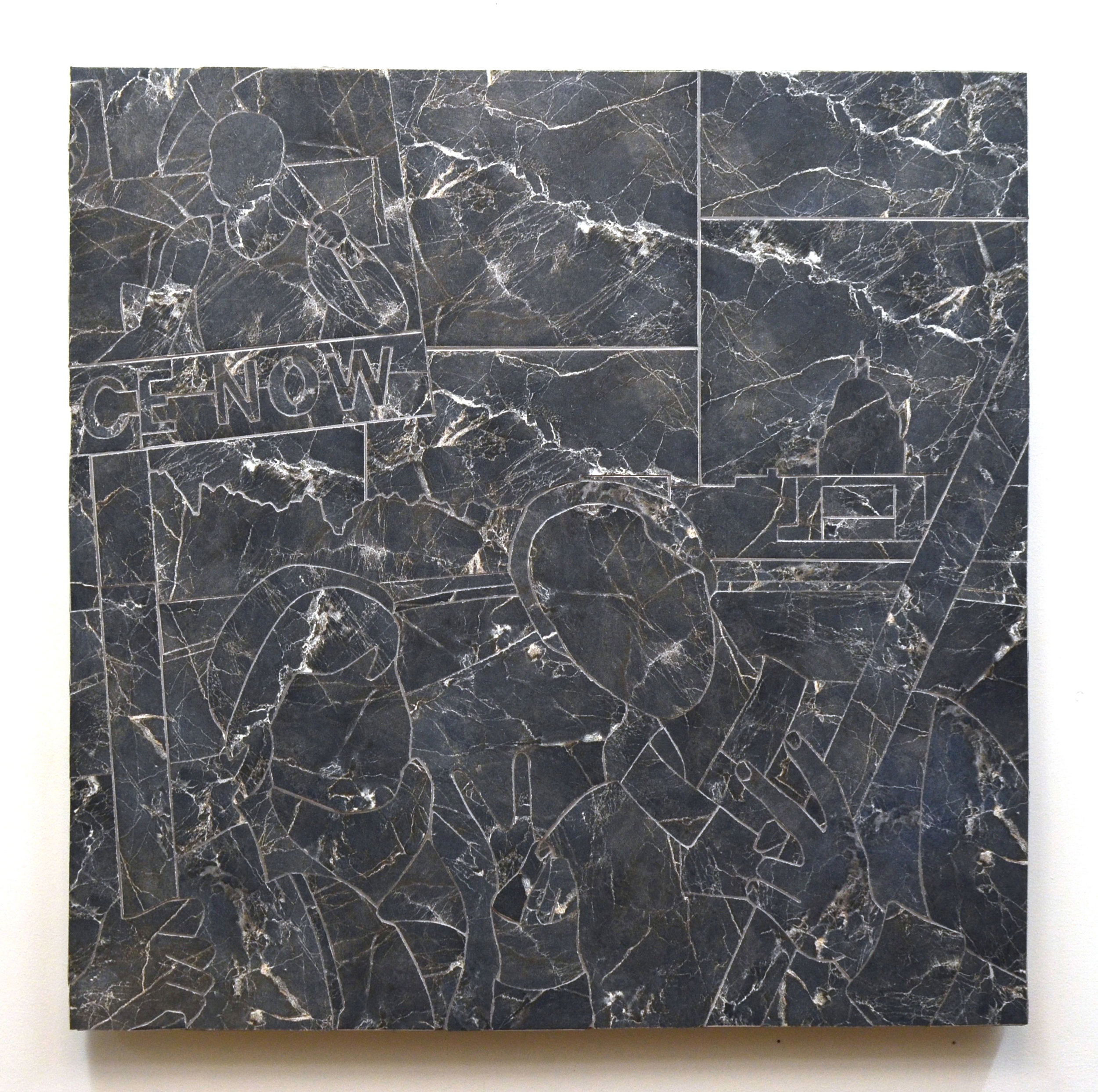 Joseph Bochynski, 2005 March on Washington (Civic Lessons), 2015, Ceramic tile on panel, 36 x 36 inch.