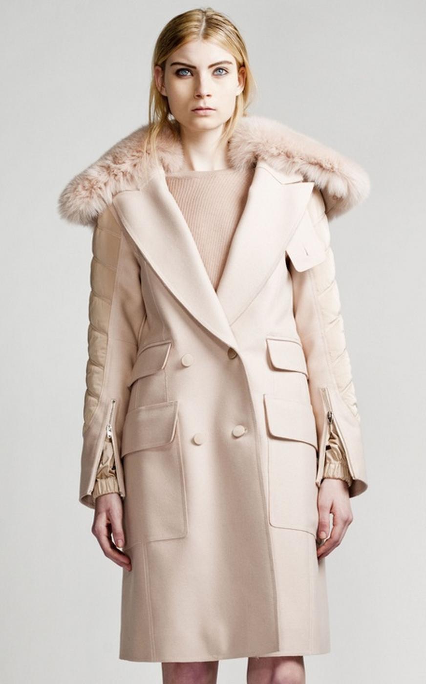 Alexander Wang - Blush Coat with Fur Trim