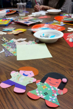 Paper dolls, designed by Charlene, drawn and decorated by the Little Friends!