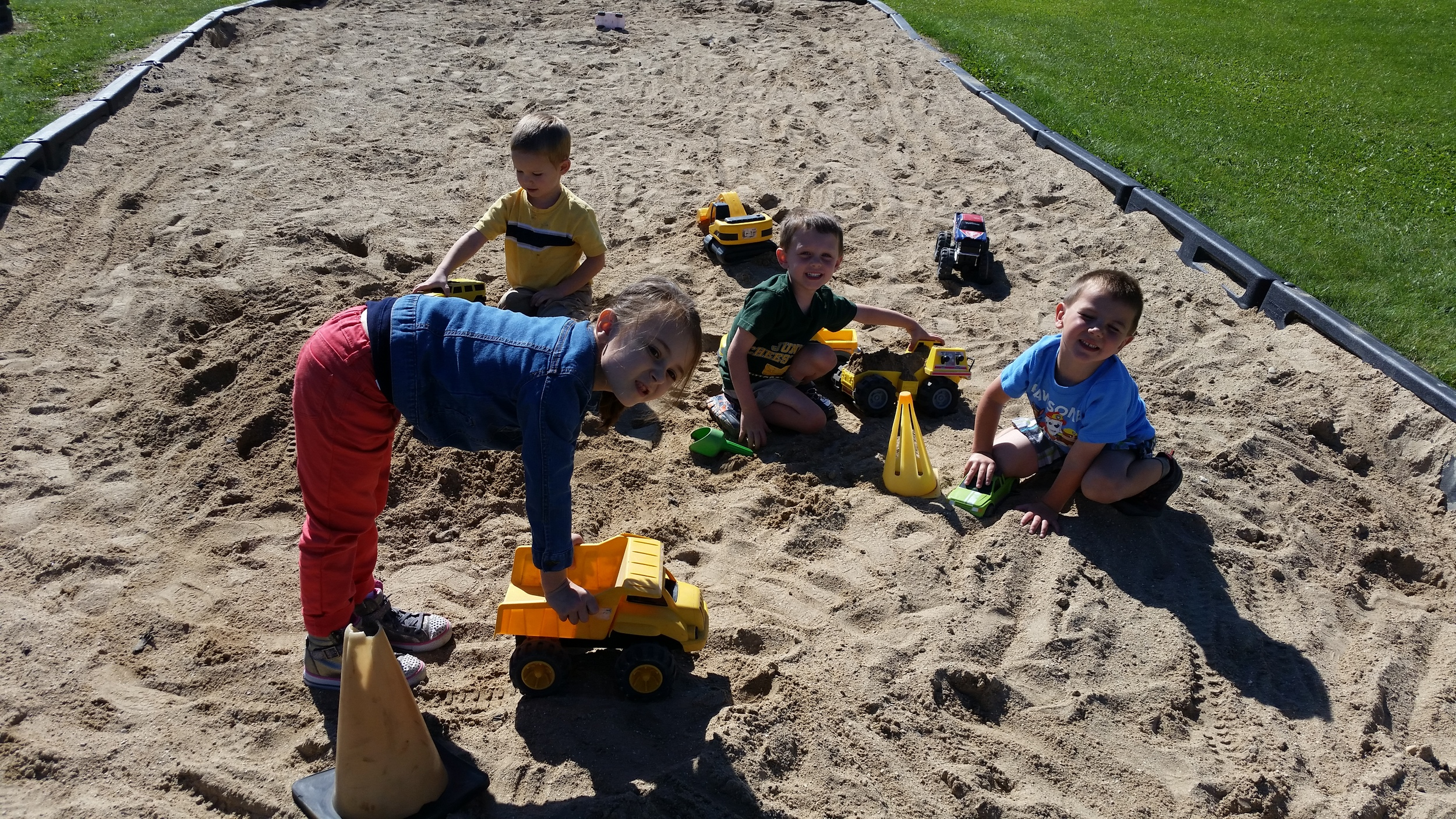 The kids enjoyed the beautiful weather this week in the sandbox at recess.