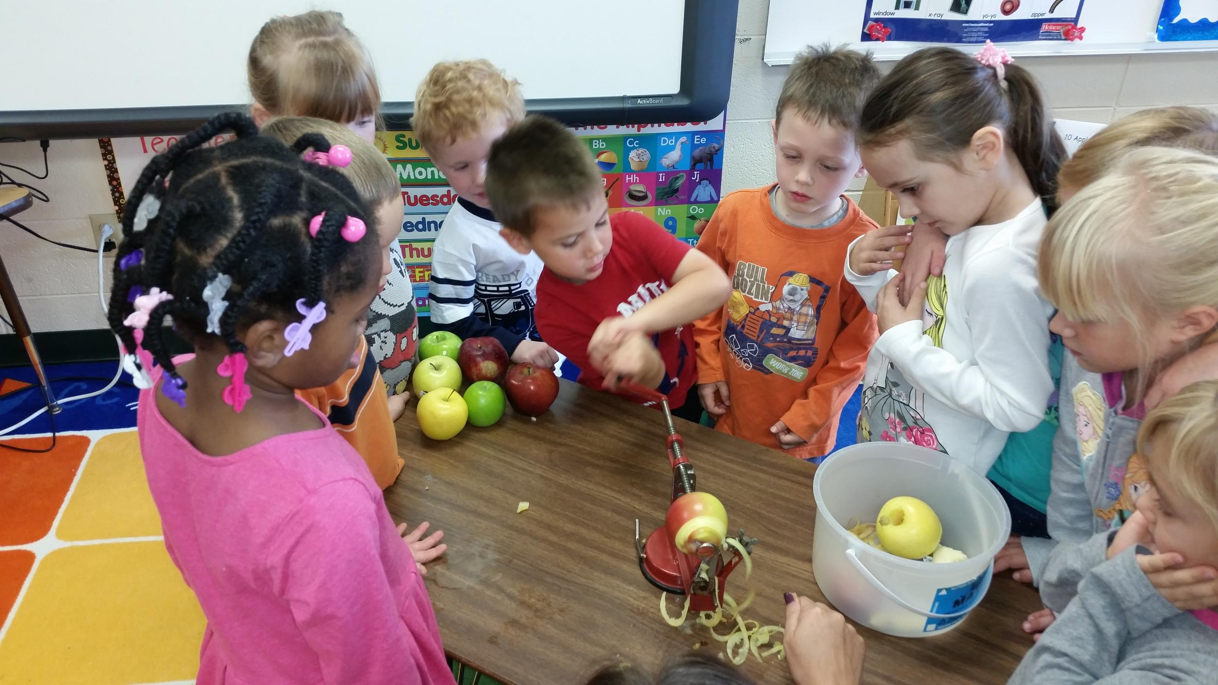 Peeling the apples