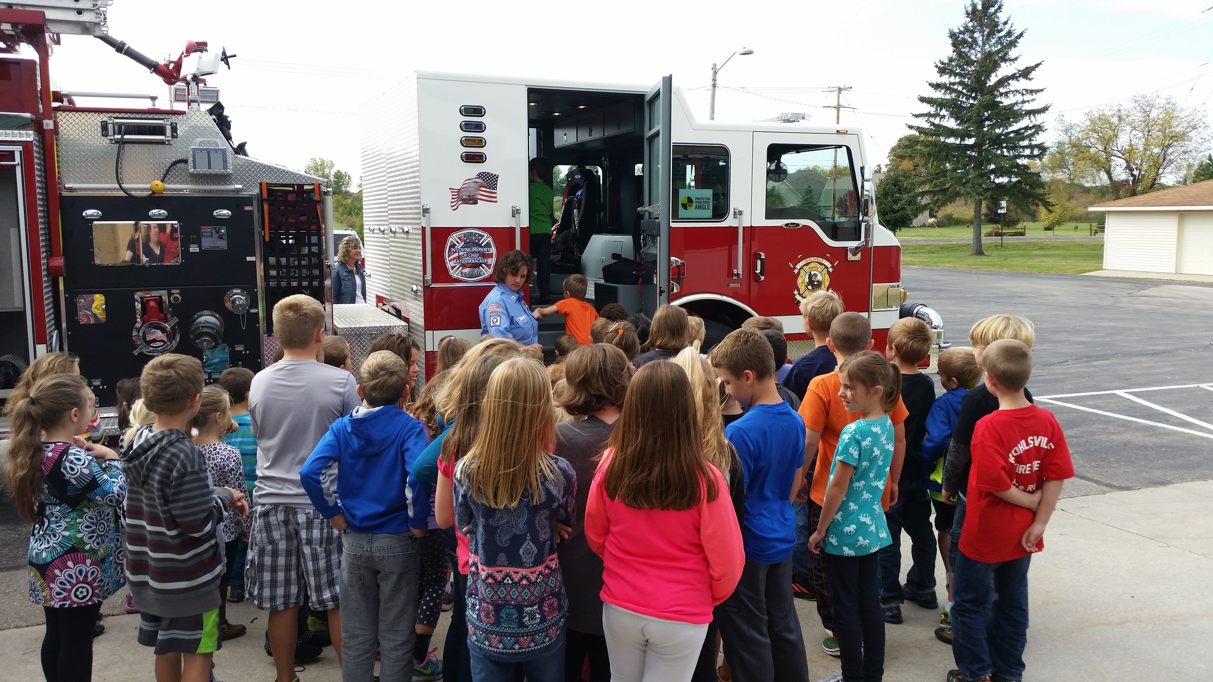 Taking a close look at the fire truck