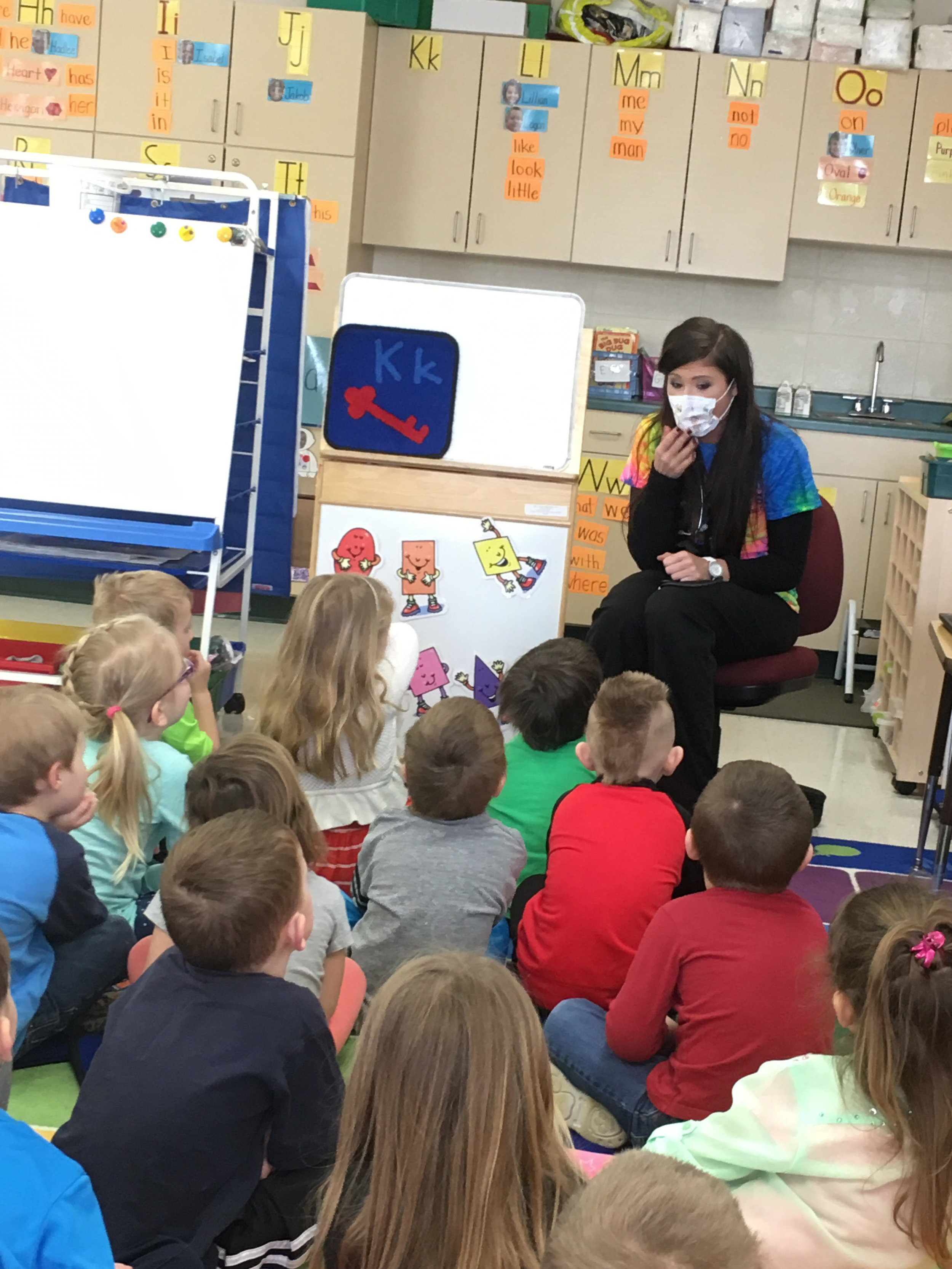 My sister, Samantha, came in to teach the students about being a nurse.
