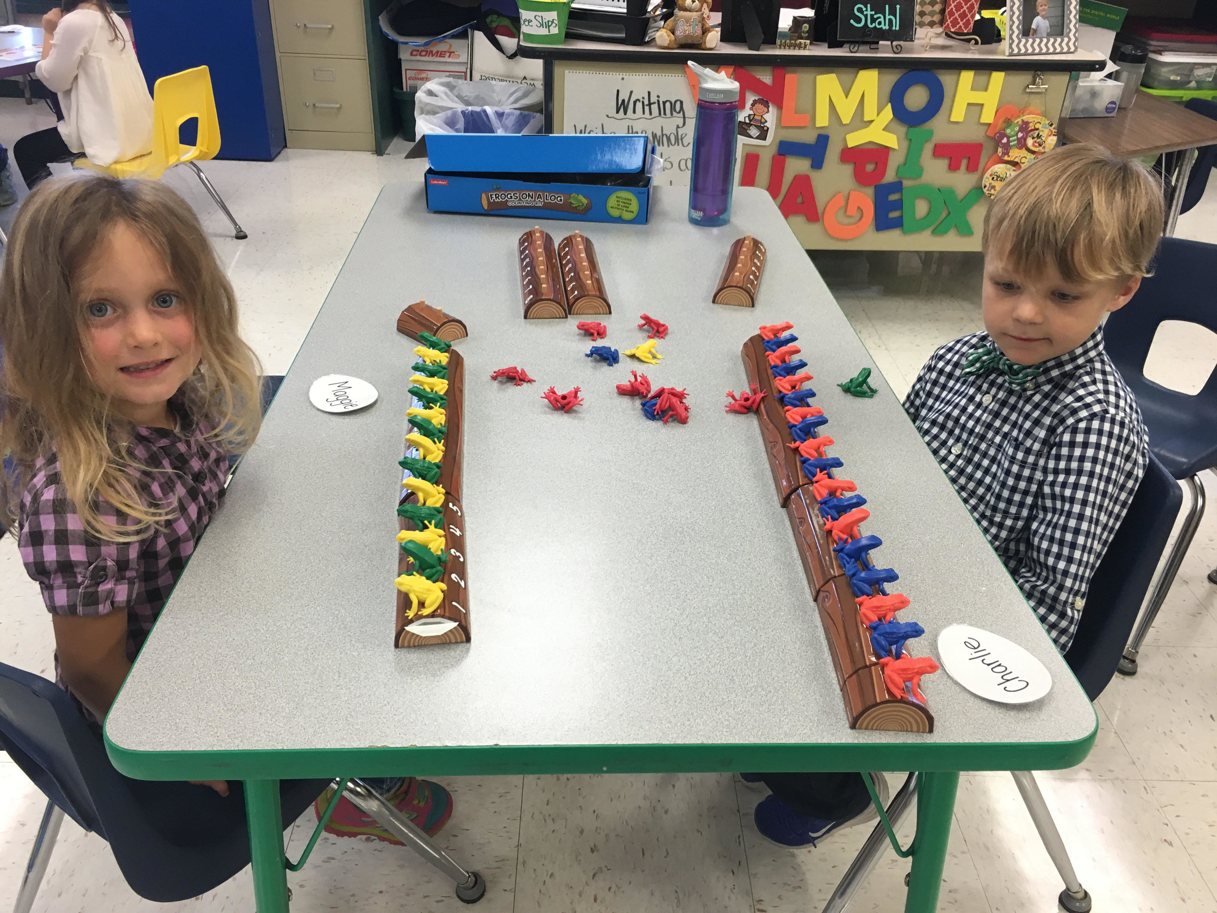 counting frogs on a log and practicing patterns