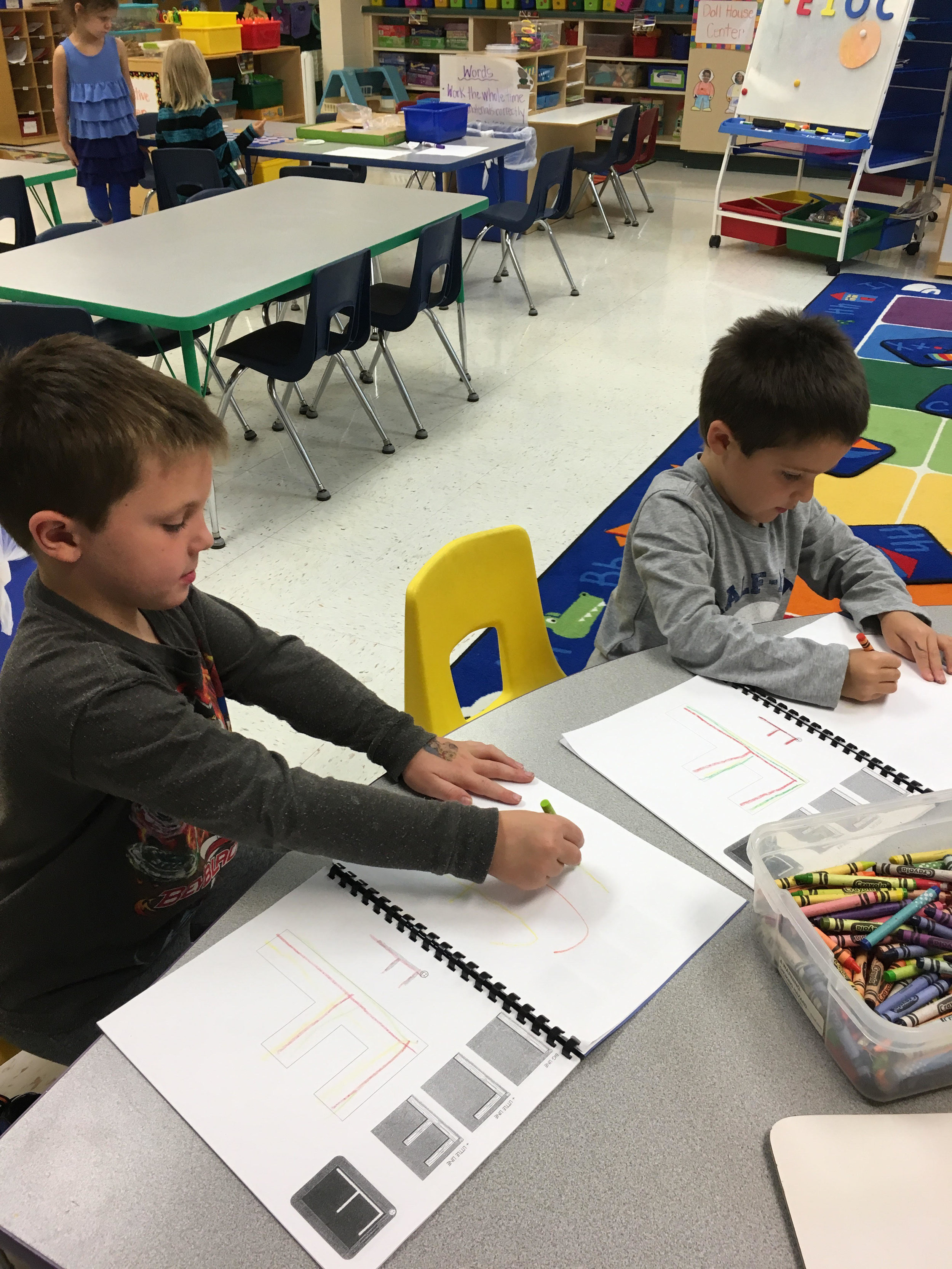 Learning to write the letter F